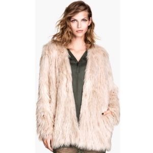 H&M Cameo Pale Pink Shag Faux Fur Glam Coat Jacket Large